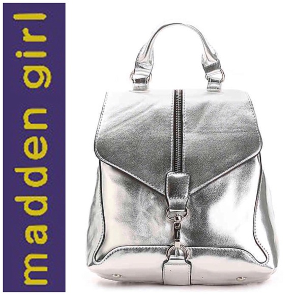 9f24bc025c Madden Girl Fashion Silver Metallic Backpack